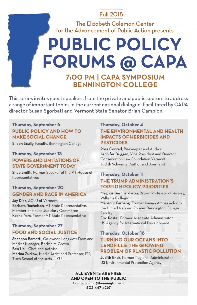 Public Policy Forums @ CAPA Schedule