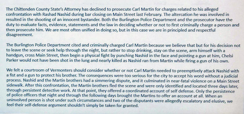 Burlington Police Department statement disagreeing with State's Attorney
