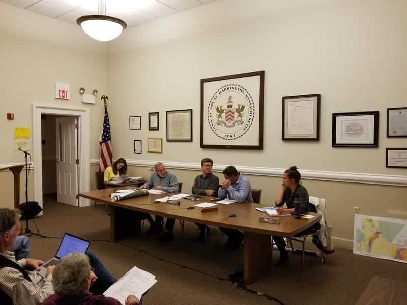 The Great Barrington Selectboard at its September 24th, 2018 meeting in town hall.