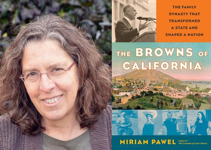 Author photo of Miriam Pawel and book cover The Browns of California