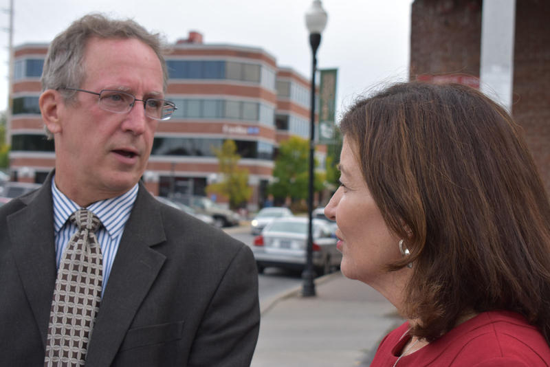 Plattsburgh Mayor Colin Read (left) and NY Lieutenant Governor Kathy Hochul in downtown Plattsburgh