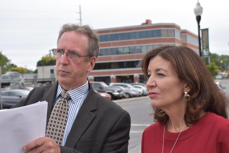 Plattsburgh Mayor Colin Read (left) and NY Lieutenant Governor Kathy Hochul on Durkee Street in Plattsburgh