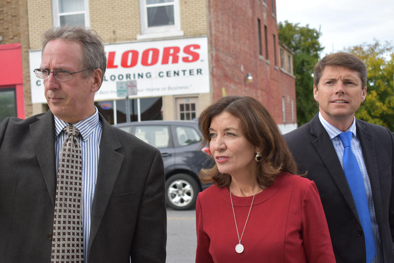 Mayor Colin Read (left), Lieutenant Governor Kathy Hochul (center) and Assemblyman D. Billy Jones (right) tour downtown Plattsburgh