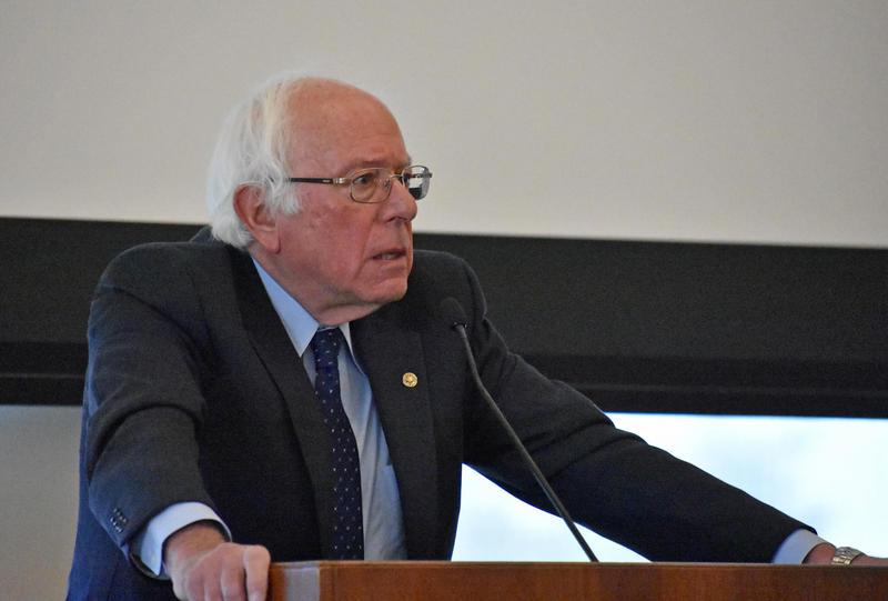 Senator Bernie Sanders talks at UVM Rally for Climate Action