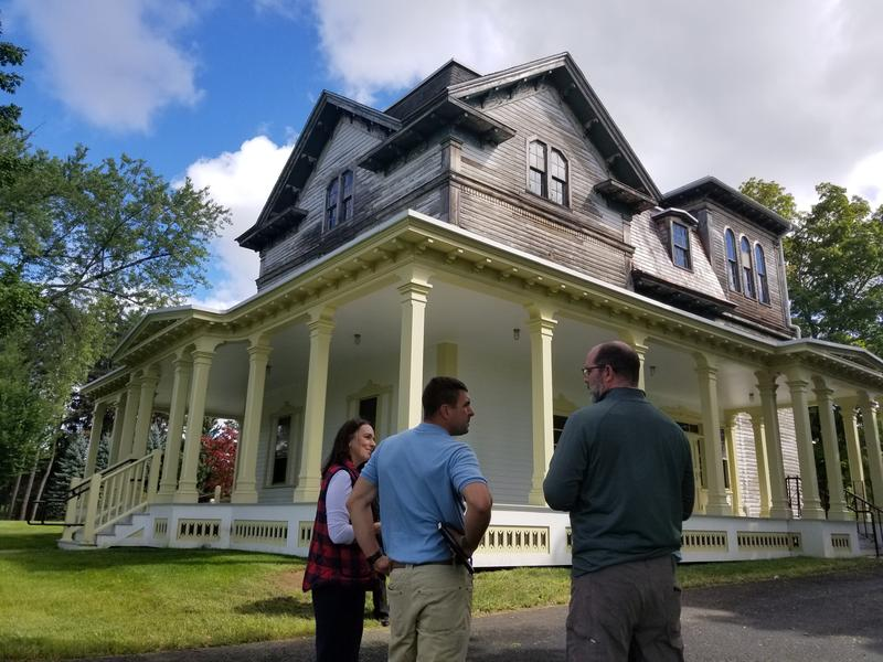 Pittsfield Mayor Linda Tyer, Massachusetts Secretary of the Executive Office of Energy and Environmental Affairs Matthew Beaton, and Pittsfield Park and Open Space and Natural Resource Program Manager James McGrath at Springside House Thursday.