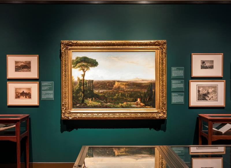 "Exhibition photo: ""Picturesque and Sublime: Thomas Cole's Trans-Atlantic Inheritance"" in Cole's New Studio"