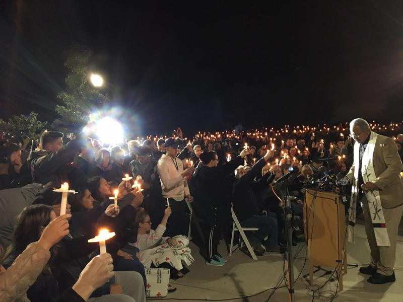 Those gathered at the vigil heard words of scripture from the Reverend Kent McHeard.