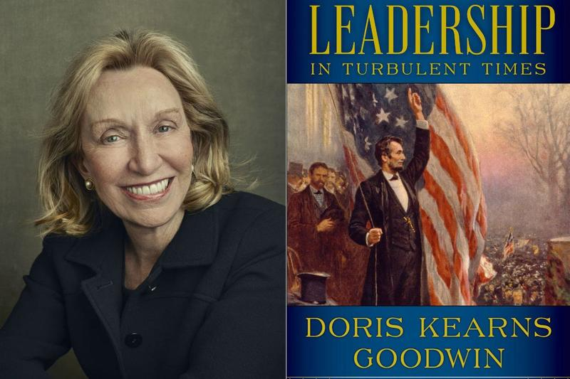 "Doris Kearns Goodwin and book cover for ""Leadership In Turbulent Times"""