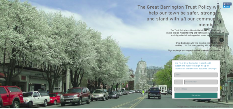 An image from the Trust Policy Partnership's 2017 campaign to pass the motion through the Great Barrington town meeting.