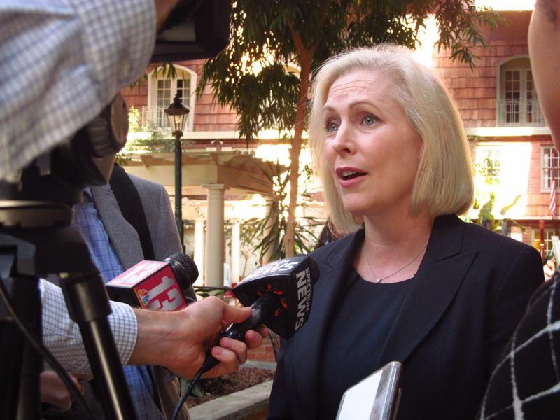 U.S. Senator Kirsten Gillibrand speaks to reporters