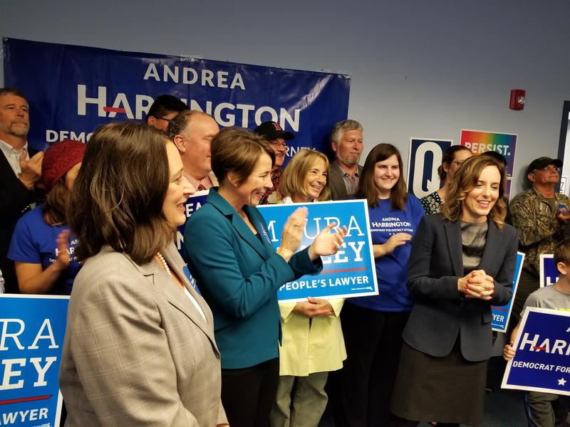 Mayor Linda Tyer,  Massachusetts Attorney General Maura Healey, and Democratic Berkshire District Attorney candidate Andrea Harrington in Pittsfield Monday.