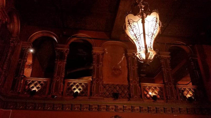 The Paramount Theater has Tiffany chandeliers.