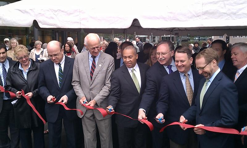 U.S. Rep. John Olver (D-MA), Mass. Gov Deval Patrick and others dedicate the John W. Olver Transit Center