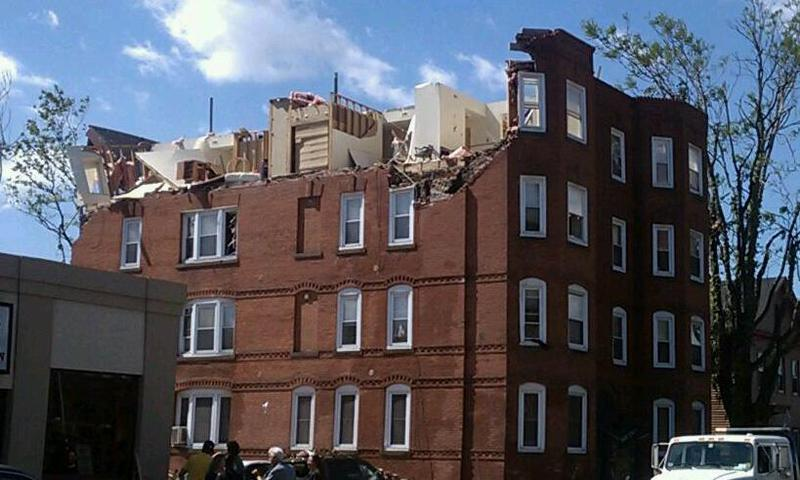 This apartment house in Springfield MA damaged by the June 1 2011 tornado was later demolished