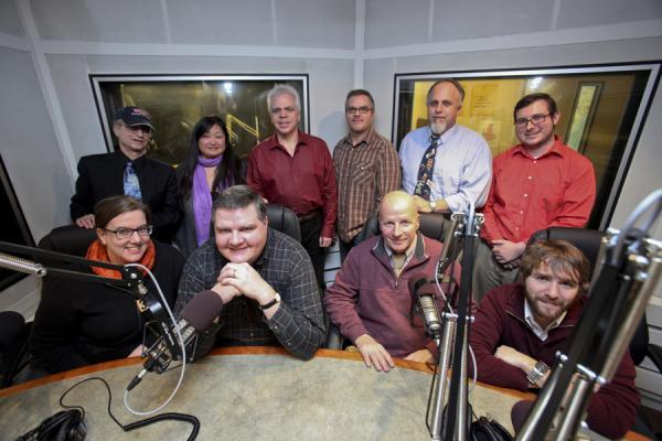 From left: Sarah LaDuke, Alan Chartock, Katie Britton, Joe Donahue, Brian Shields, Brad Cornelius, Dave Lucas, Ray Graf, Patrick Donges, Ian Pickus