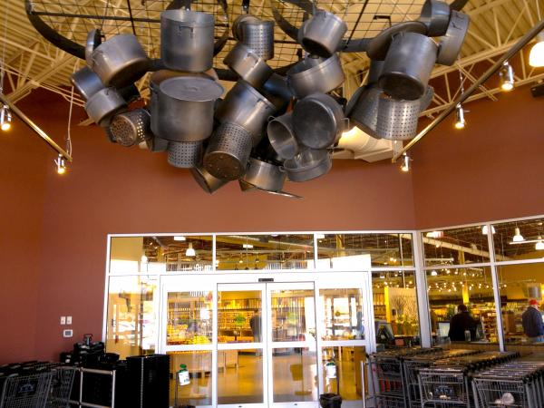 This noteworthy pots-and-pans installation greets you in the expansive entranceway to the market. The size of the store rivals many Price Chopper and Hannaford locations.
