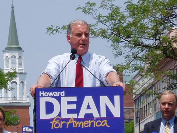Photo from Dean's Declaration of Candidacy speech Burlington, VT June 23, 2003