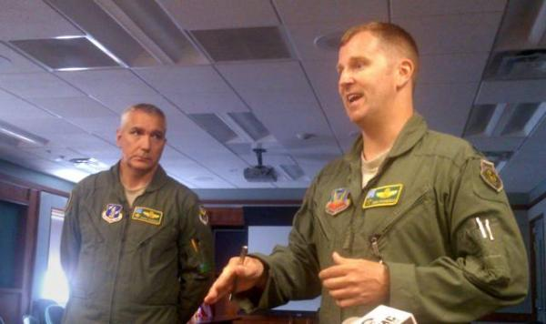 Vermont National Guard Assistant Adjutant General for Air Brigadier General Dick Harris (left) and Air Guard fighter squadron commander Lt. Colonel Dan Finnegan