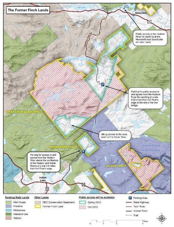 Interim Access map to former Finch Pruyn Adirondack lands