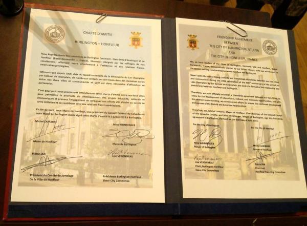 Burlington, Vermont, and Honfleur, France Friendship agreement