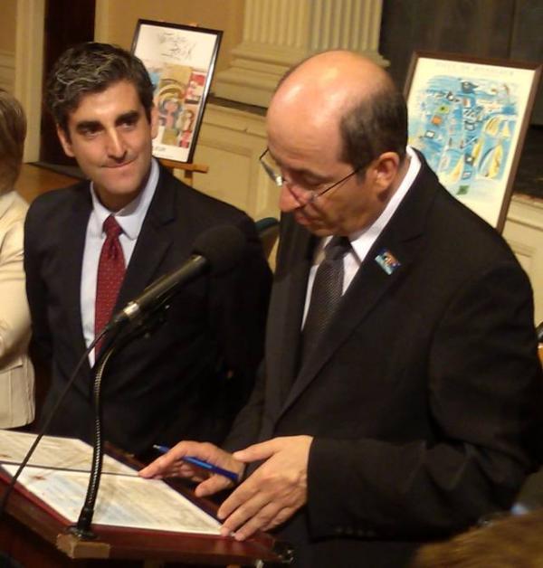 Burlington Mayor Miro Weinberger (left) with Honfleur Mayor Michel Lamarre