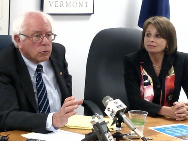 Senator Bernie Sanders (left) with White River Junction VA Medical Center Director Deborah Amdur