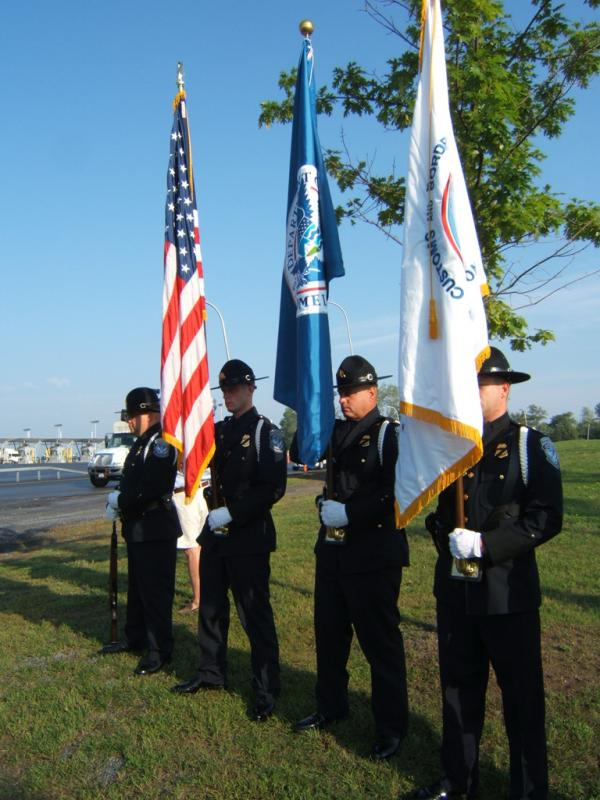 Presenting the colors at the Champlain border