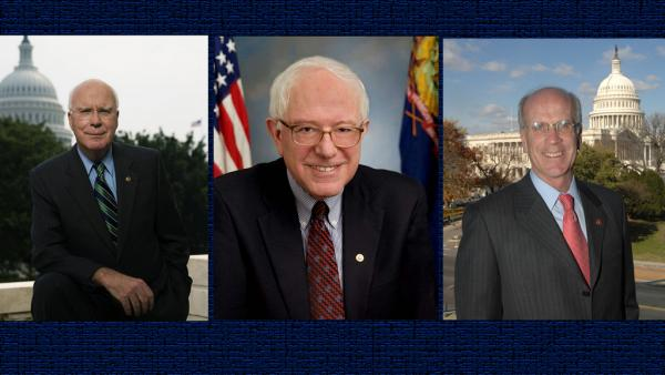Vermont Congressional delegation: Senator Patrick Leahy (left), Senator Bernie Sanders (center), Congressman Peter Welch (right)