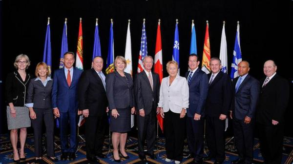 From left to right: Catherine Blewett (Deputy minister for Intergovernmental affairs, Nova Scotia), Governor Maggie Hassan, Governor Peter Shumlin, Governor Paul LePage, Premier Kathy Dunderdale, Governor Lincoln Chafee, Premier Pauline Marois, Governor Dannel Malloy, Premier Nathan Alward, Governor Deval L. Patrick, Honorable Allen F. Roach.
