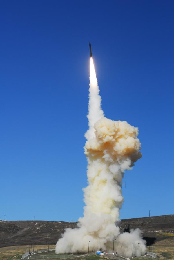 A Ground-Based Interceptor is shown shortly after liftoff from Vandenberg AFB, Calif., on December 5, 2008. The launch, designated FTG-05, was a test of the Ground-based Midcourse Defense element of the Ballistic Missile Defense System.