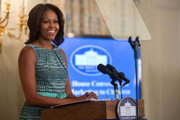 "First Lady Michelle Obama delivers remarks during a ""Let's Move!"" food marketing convening in the State Dining Room of the White House, Sept. 18, 2013."