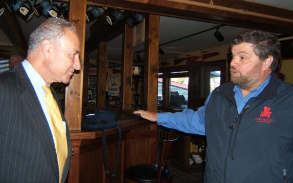 Senator Charles Schumer and Chris Ericson in Lake Placid Pub and Brewery