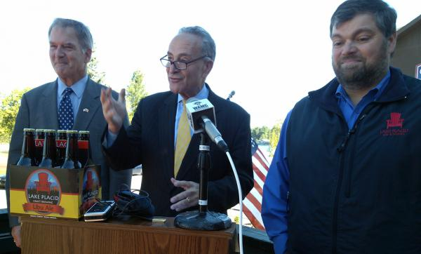 Senator Charles Schumer announces Small BREW Act. (Left) Congressman Bill Owens, (center) Schumer, (Left) Lake Placid Pub and Brewery Owner Chris Ericson