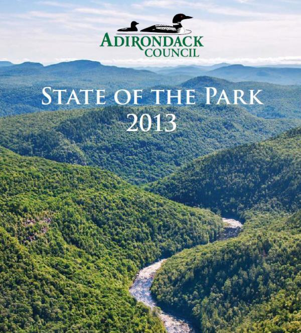 State of the Park Cover: Former Finch-Pruyn/Nature Conservancy lands recently added to the Forest Preserve include a 14.7 mile stretch of shoreline along the rapids of the Hudson River Gorge. Photo © Carl Heilman ll/Wild Visions, Inc.
