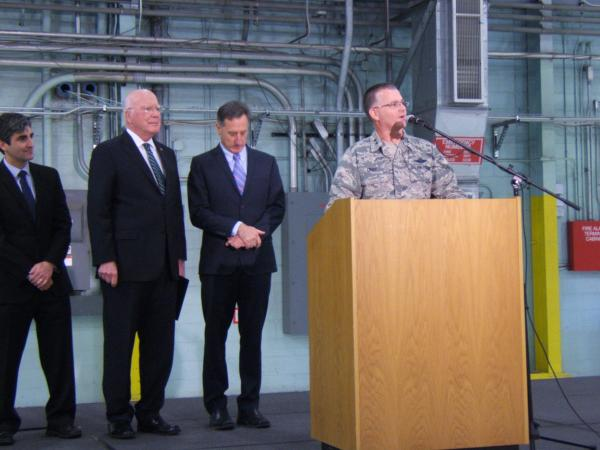 Vermont National Guard Adjutant General Steven Cray (right) announces F-35 siting decision as Governor Peter Shumlin, Senator Patrick Leahy and Burlington Mayor Miro Weinberger observe.
