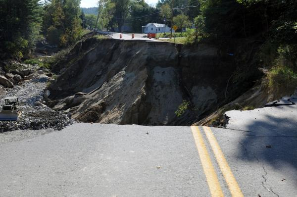 65-foot-deep highway wash-out that followed Hurricane Irene in Vermont, seen here Sept. 12, 2011.