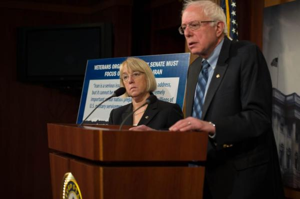 Vermont Senator Bernie Sanders and state of Washington Senator Patty Murray at a press conference following the defeat of veterans' bill