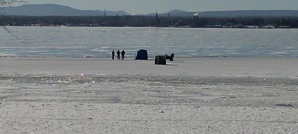Ice fishing on Cumberland Bay