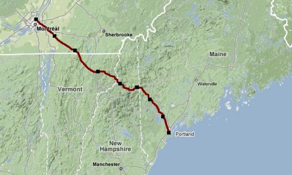 Portland Montreal Pipeline route