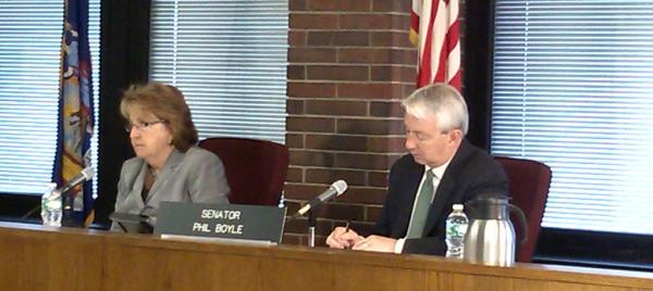 Senator Betty Little (left) and Senator Phil Boyle at Task Force on Heroin and Opioid Addiction hearing in Plattsburgh
