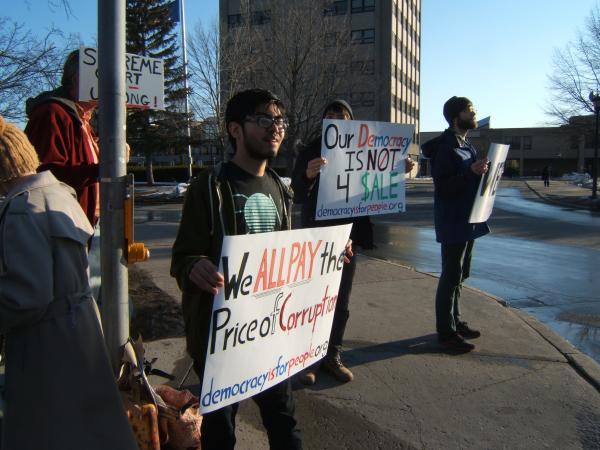Protesting McCutcheon v. FEC in Plattsburgh
