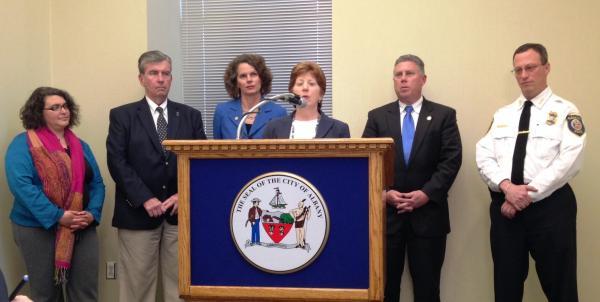 Councilwoman Leah Golby, State Senator Neil Breslin, Assemblywoman Pat Fahy, Mayor Kathy Sheehan, Assemblyman John McDonald, Police Chief Steve Krokoff.