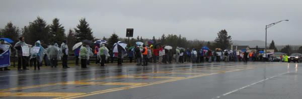 Teachers line up at the Picket in the Pines protest in Lake Placid