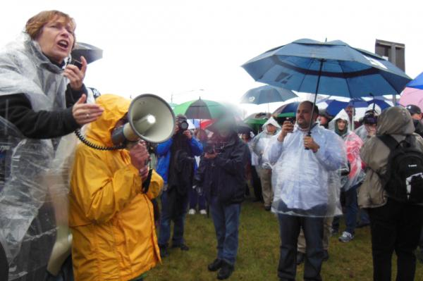 American Federation of Teachers President Randi Weingarten rouses teachers at Picket in the Pines
