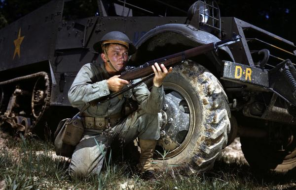 Infantryman in 1942 with M1 Garand rifle