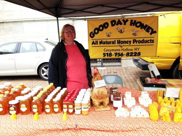 Good Day Honey, Southern Albany County – raw local honey, creamed honey, farm fresh eggs, beeswax candles, soap, body butter, and lip balm!