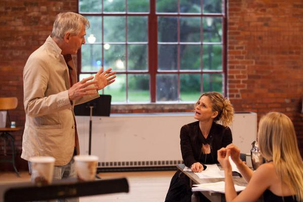 John Patrick Shanley, Kyra Sedgwick, and Annika Boras in rehearsal for The Danish Widow.