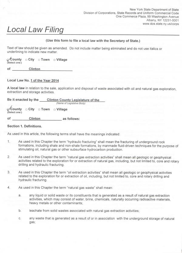 Clinton County waste law page 1