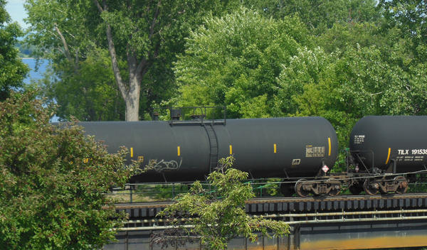 Oil train passing through Plattsburgh. Photo taken from the steps of City Hall.