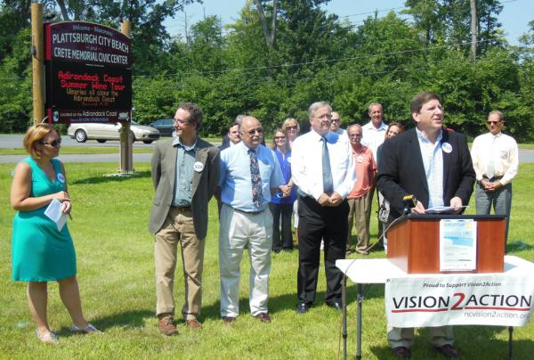 """Vision2Action and regional officials announce """"Stretch Your Summer at the Waterfront"""" event at the Plattsburgh City Beach"""